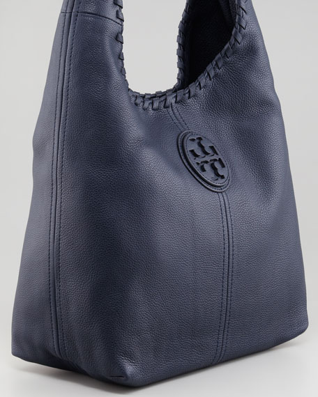 Marion Leather Hobo Bag, Navy