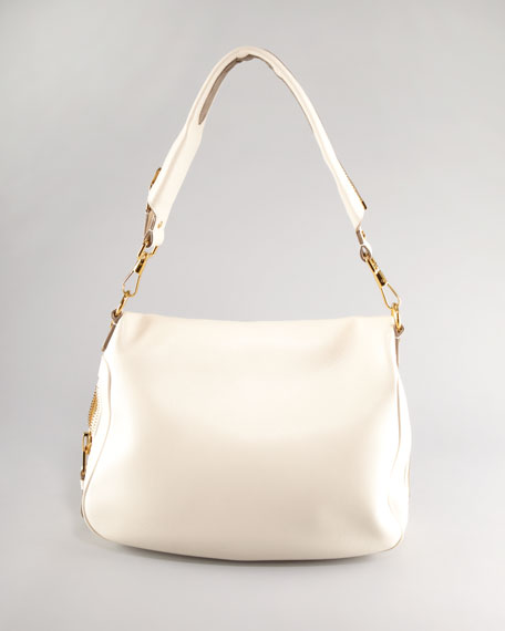 Large Jennifer Flap-Top Bag, Beige