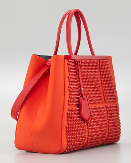2Jours Studded Neoprene Medium Tote Bag, Red