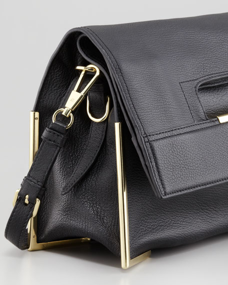 Scout Cutout-Handle Fold-Over Tote Bag, Black