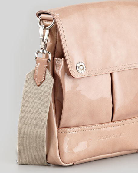 Patent Pouch-Pocket Crossbody Bag, Blush