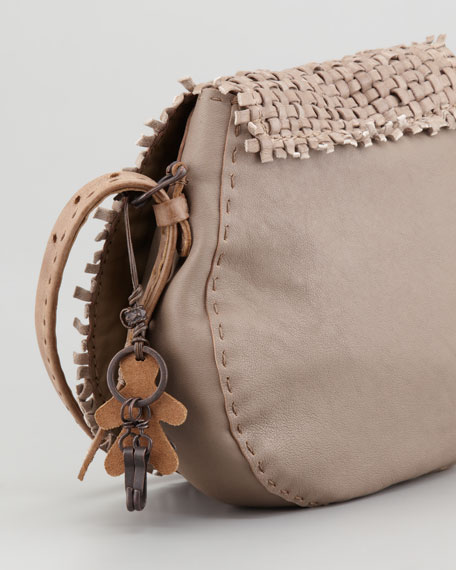 Sella Woven Leather Crossbody Bag, Taupe
