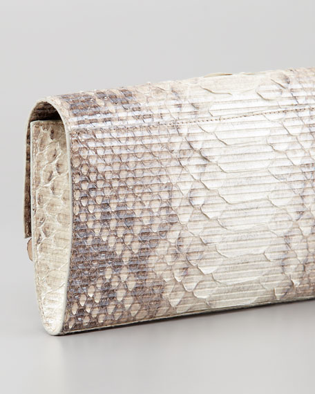Crocodile & Glitter Python Clutch Bag, Natural