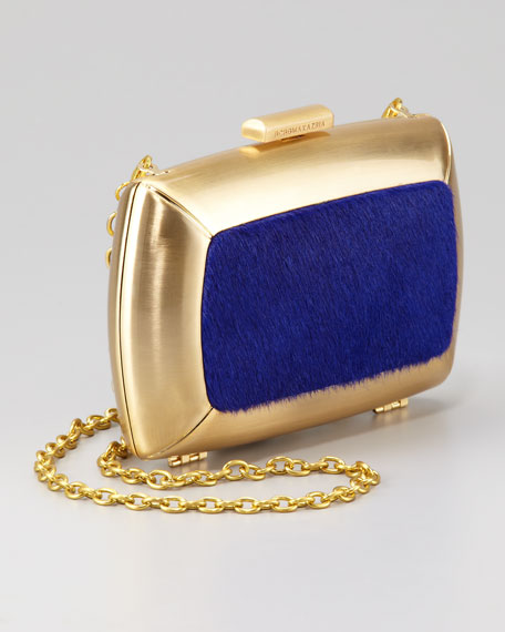 Liza Calf-Hair Minaudiere, Blue