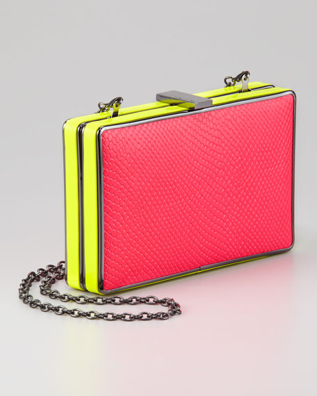 Thea Evening Clutch, Pink/Yellow