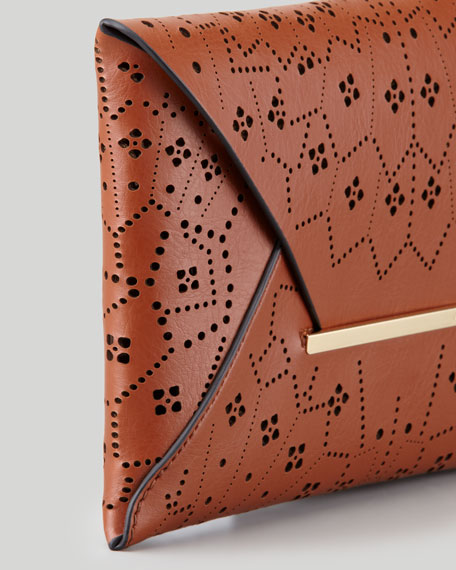 Harlow Laser-Cut Envelope Clutch Bag, Cognac
