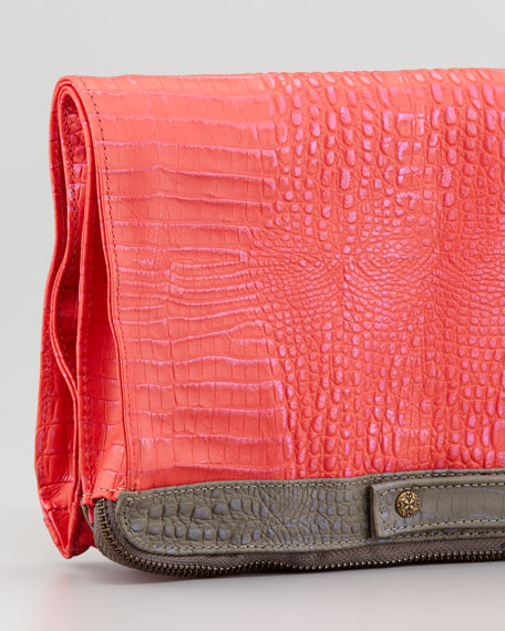 Banker's Oversize Fold-Over Clutch Bag, Pink