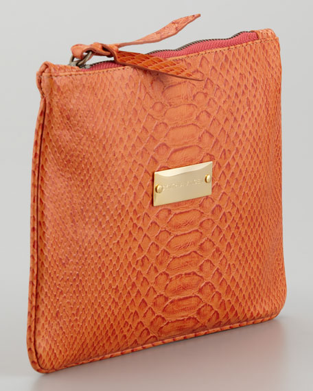 12th Street by Cynthia Vincent Snake-Embossed Pouch, Tangerine