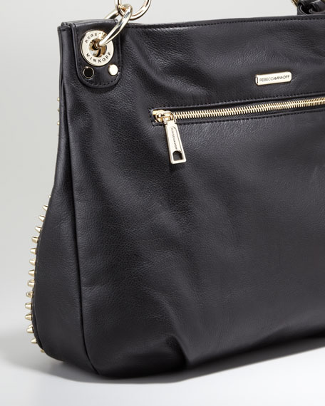 Luscious Mini Studded Hobo Bag, Black