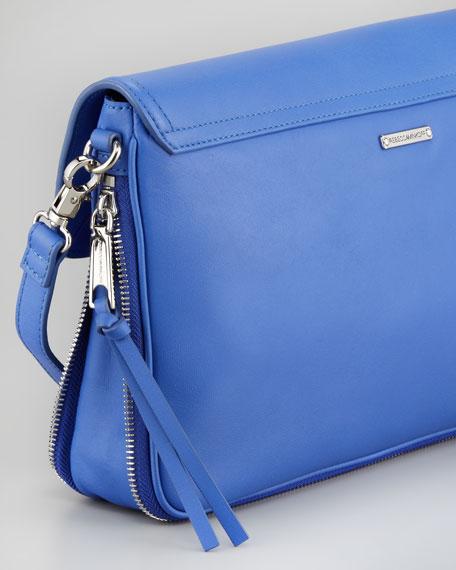 Markey Leather Envelope Bag, Periwinkle