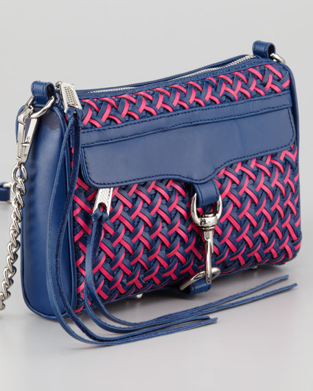 Mini M.A.C. Woven Leather Crossbody Bag, Poppy/Navy