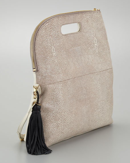 Jules Faux-Stingray Convertible Foldover Clutch