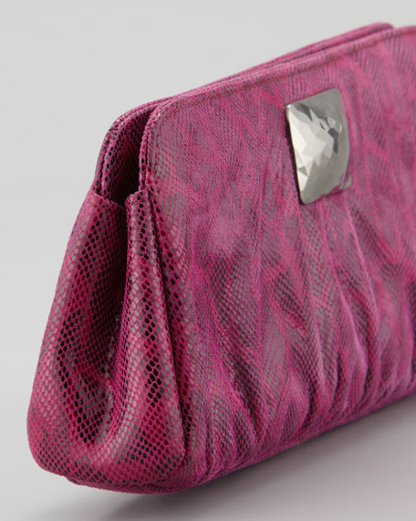 Crosby Double Lizard-Print Clutch Bag, Fuchsia