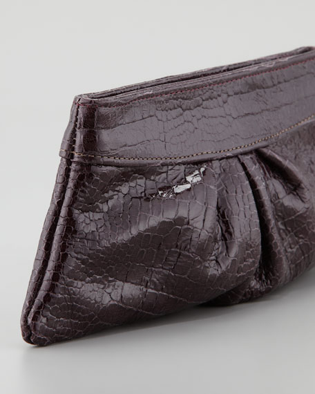 Eve Shiny Baby Crocodile Clutch Bag, Merlot