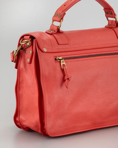 PS1 Medium Satchel Bag, Deep Coral