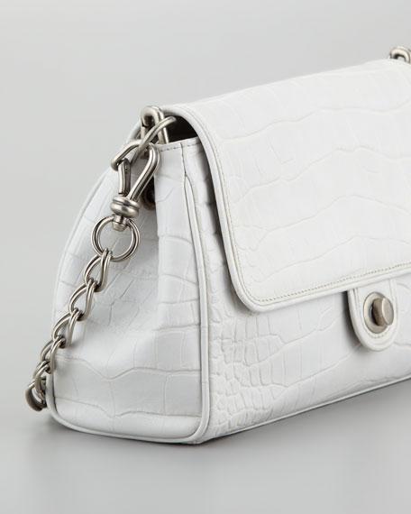 Chain Link Embossed Leather Shoulder Bag, Light