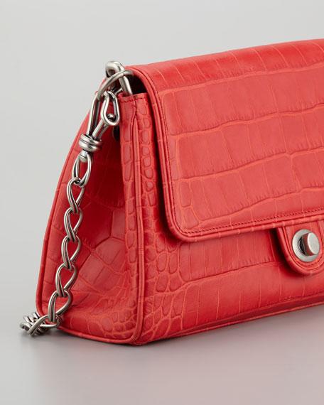 Chain Link Embossed Leather Shoulder Bag