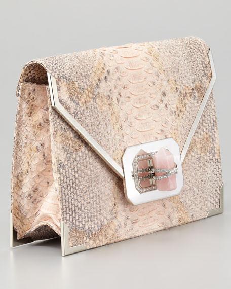 Valentina Large Python Envelope Clutch, Pink
