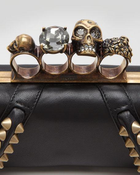 Studded Long Knuckle Box Clutch Bag, Black