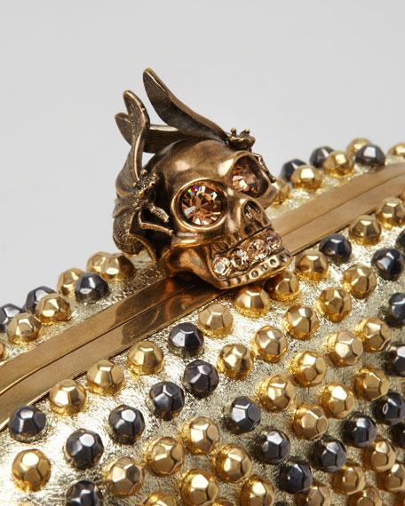 Bee Punk Skull Studded Clutch Bag, Gold