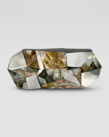 Rafe Maryanne Faceted Shell Minaudiere, Gray