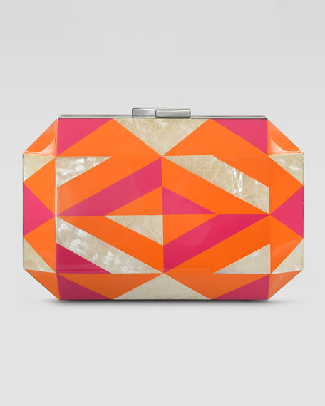 Dawn Shell & Enamel Minaudiere, Orange/Pink