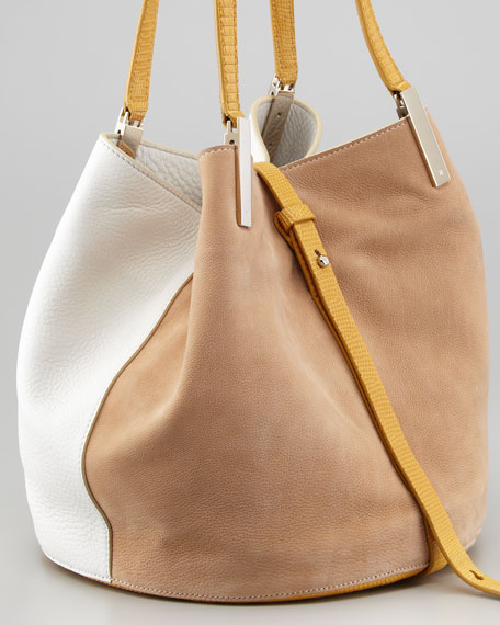 Garden Colorblock Tote Bag, Wheat/White