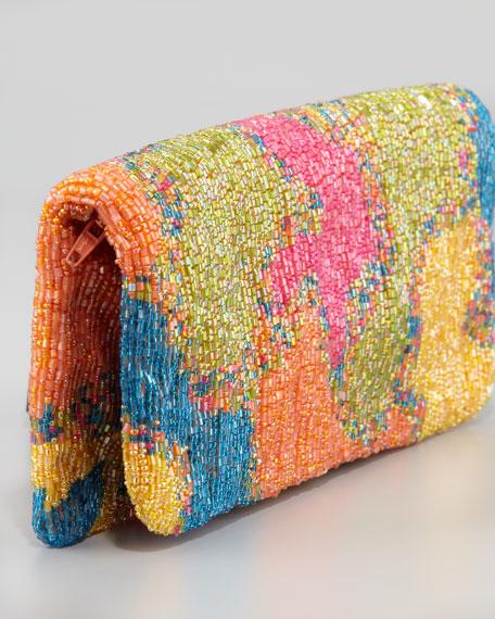 Tie-Dye Beaded Fold-Over Clutch Bag
