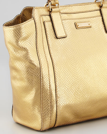 Emma Metallic Snake-Embossed Tote Bag, Gold