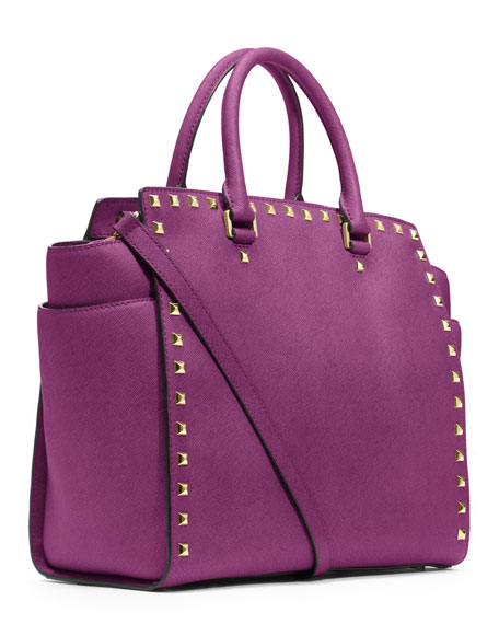 Large Selma Stud-Trim Satchel