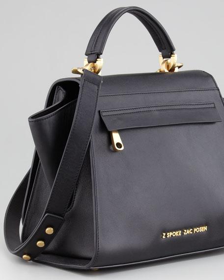 Eartha Full-Flap Satchel Bag, Black