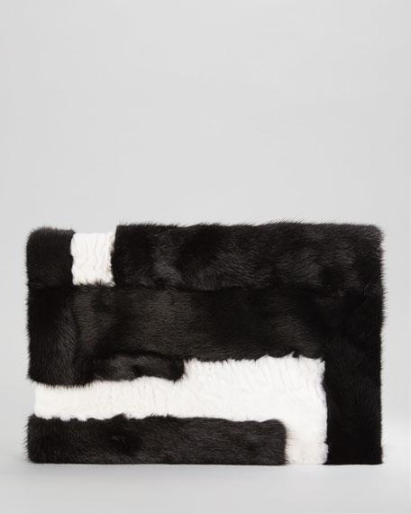 Soft Natalia Mixed Mink & Shearling Fur Turnlock Clutch Bag
