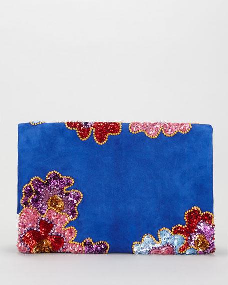 Floral Sequin Embroidered Soft Natalia Clutch Bag, Blue