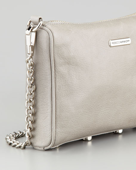 Five-Zip Mini Crossbody Bag, Soft Gray