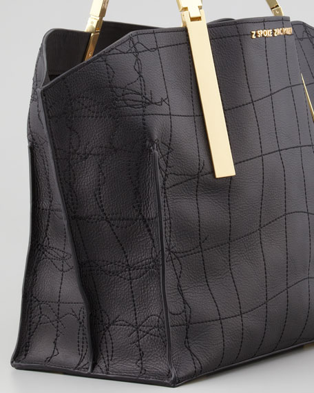 Danes Crocodile-Stitched Leather Shopper, Black