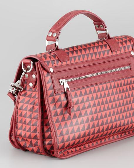 PS1 Triangle-Print Medium Satchel Bag, Orange/Red