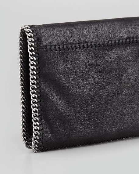 Falabella Crystal-Sewn Fold-Over Clutch Bag, Black