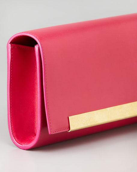 Lutetia Flap Clutch Bag, Pink
