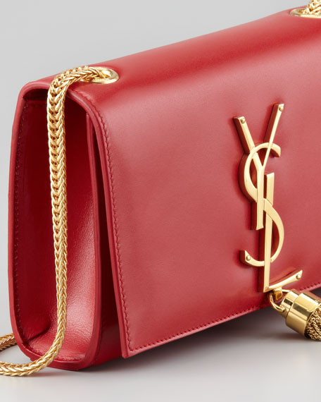 Cassandre Small Tassel Crossbody Bag, Red