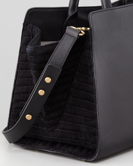 Eartha East-West Leather Satchel Bag, Black