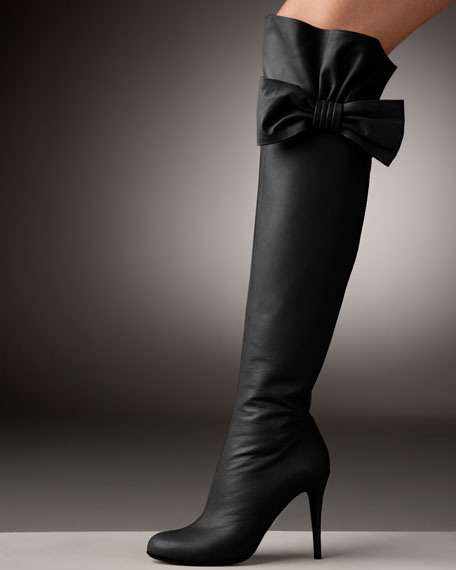 Bow-Topped Over-the-Knee Boot
