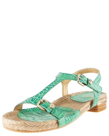 Croc-Print Flat Sandal
