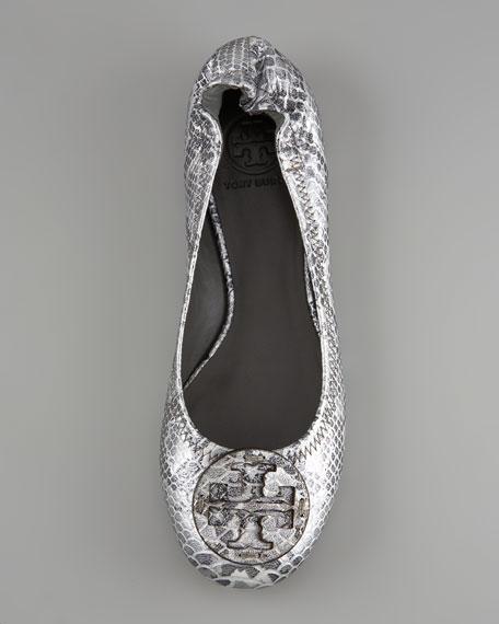 Reva Snake-Embossed Ballerina Flat