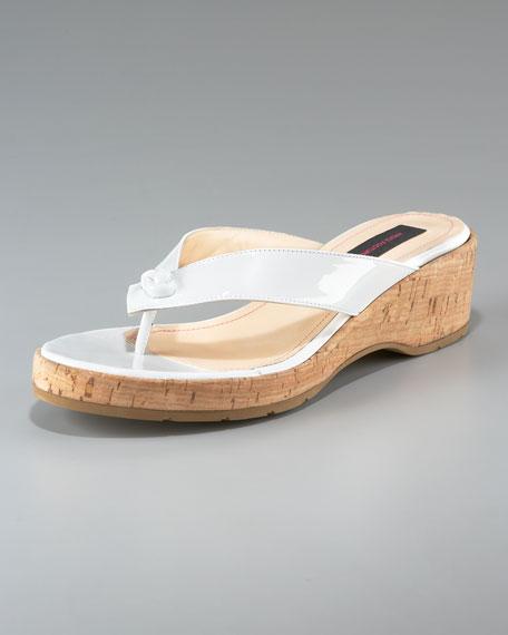 Patent Cork-Heel Thong Sandal