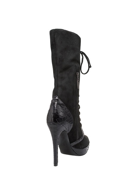 Python-Trim Lace-Up Knee Boot