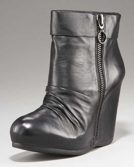 Scrunched Zip Wedge Boot