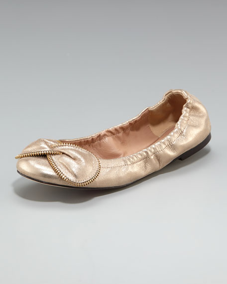 Zipper-Bow Ballerina Flat