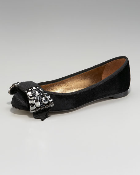 Stone-Bow Velvet Ballerina Flat