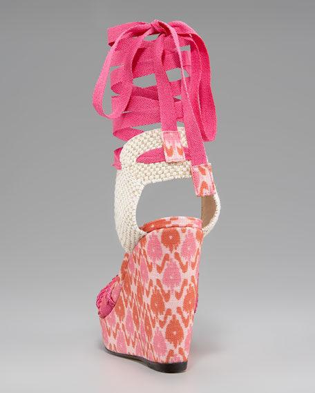 Patterned Linen Lace-Up Wedge, Pink