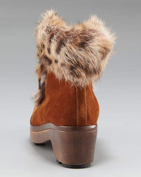 Fur-Trim Lace-Up Ankle Boot
